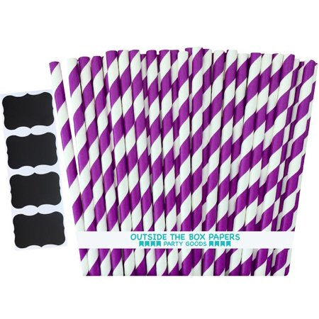Purple and White Striped Straws  100 - Purple And White Straws