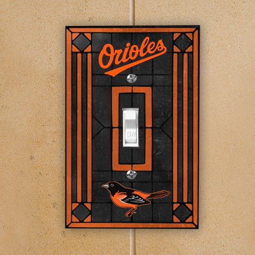 Baltimore Orioles Black Art-Glass Switch Plate Cover - No Size