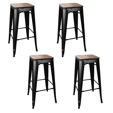 Amerihome Loft Black Rustic Metal 30 Bar Stool With Wood Seat Set Of 4