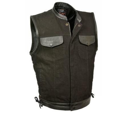Mens Denim Hidden Zipper Side Lace Vest with Leather Trim