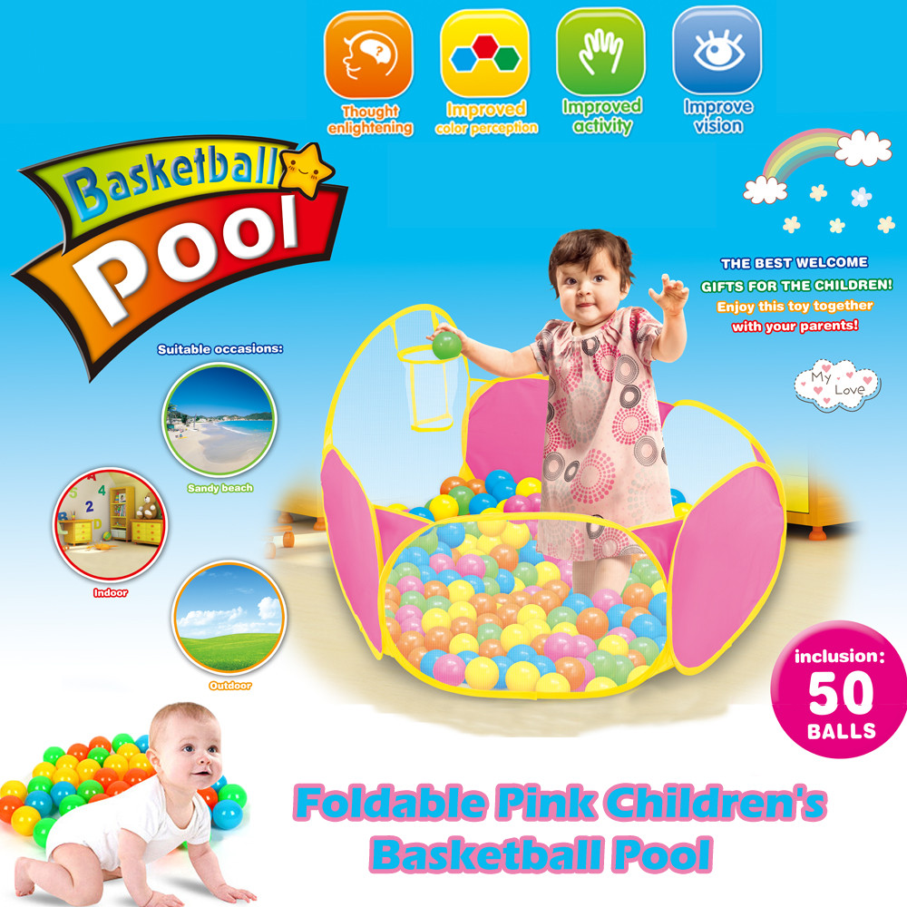 Foldable Pink Children's Basketball Pool With 50 6 cm Ocean Balls