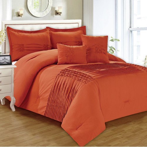 5-Piece Astoria Pinktuck Pleated Comforter Set