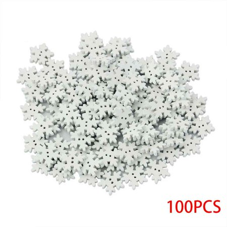 100pcs 18mm Wood Christmas Snowflake Buttons DIY Craft White Snow Flakes Wooden Sewing Buckle