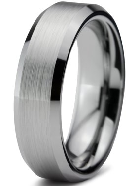 Charming Jewelers Tungsten Wedding Band Ring 6mm for Men Women Comfort Fit Beveled Edge Brushed Lifetime Guarantee