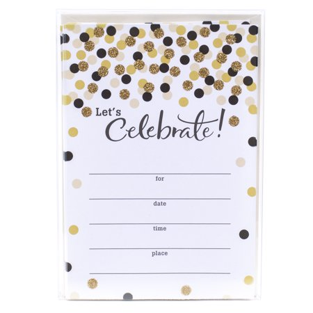 Hallmark Party Invitations (Let's Celebrate with Gold and Black Dots, Pack of
