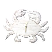 Whitewashed Coastal Crab Hand Carved Wood 13 Inch Wall Battery Clock