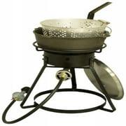 "King Kooker 16"" Bolt-Together Outdoor Cooker with Cast Iron Pot, Aluminum Lid and Basket"