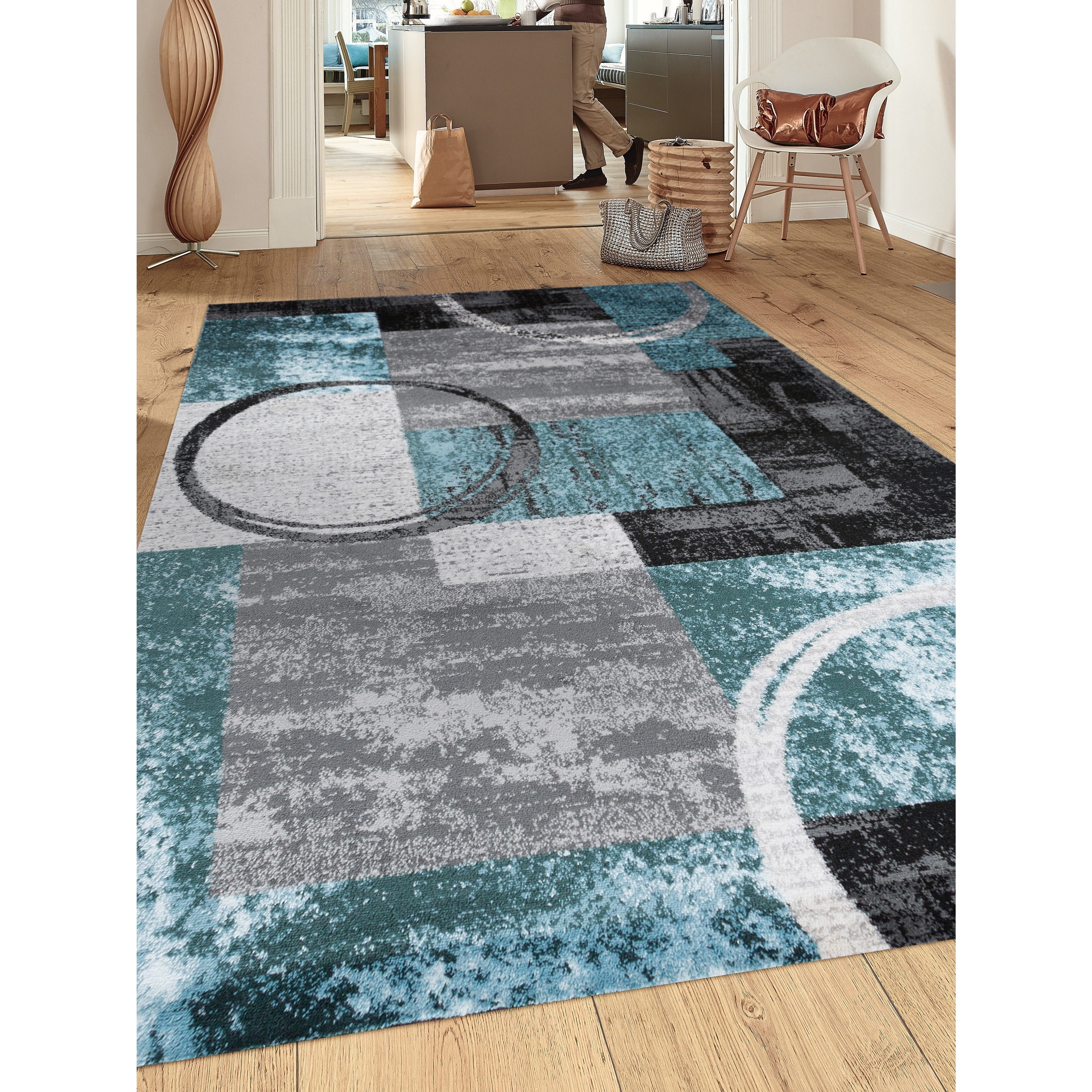 "OSTI Contemporary Abstract Circle Grey/Blue Indoor Area Rug - 7'10"" x 10'2"""