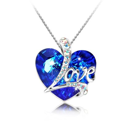 Tayyakoushi Women's Necklace Heart of the Ocean Love Heart Pendant Necklace Made with SWAROVSKI Crystal , Gift for (Titanic Heart Of The Ocean Necklace For Sale)