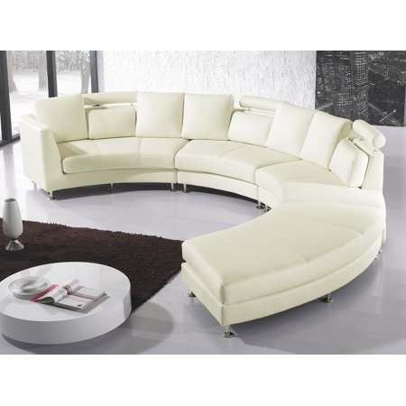 Modern Curved Sectional Sofa with Chaise and Headrests Off-Whtite ...