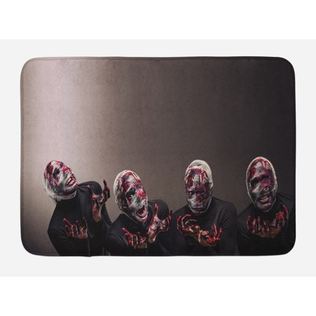 Wizard Bath Mat, Bloody Faces with Bandage of Screaming Zombie Looks Scary Spooky Dark Art Pattern, Non-Slip Plush Mat Bathroom Kitchen Laundry Room Decor, 29.5 X 17.5 Inches, Black, Ambesonne - Screaming Doormat