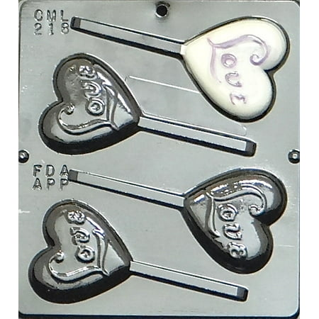 218 Love on Heart Pop Lollipop Chocolate Candy Mold