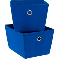 Mainstays Medium Non-Woven Fabric Bins, Set of 3, Blue Morpho