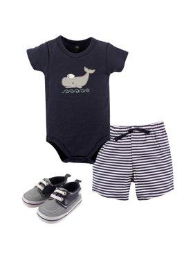 Hudson Baby Boy Bodysuit, Shorts, & Shoes, 3pc Outfit Set
