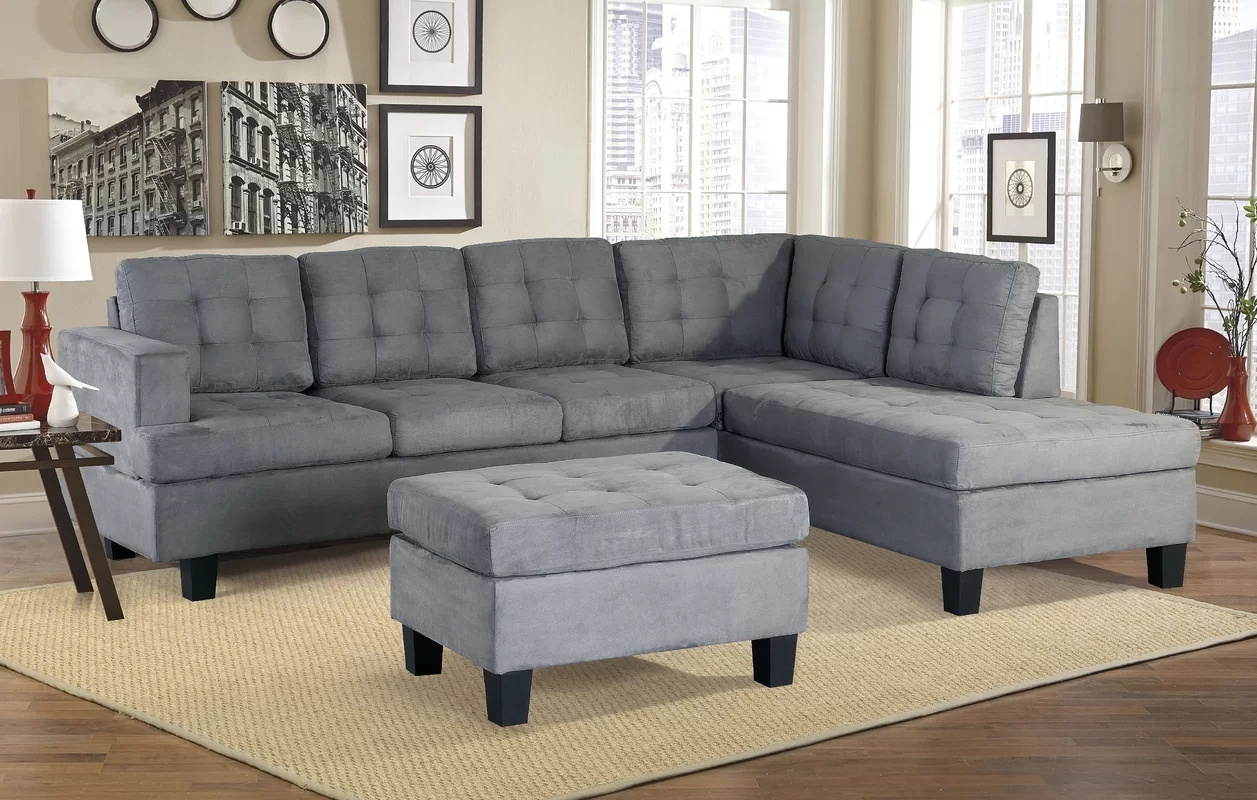 Superbe Harperu0026Bright Designs 3 Piece Sectional Sofa With Chaise And Ottoman, ...
