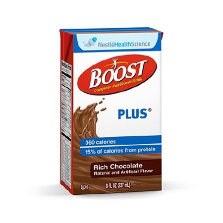 Nestle BOOST PLUS Oral Supplement, Rich Chocolate 8 oz., Pkg of 27 - Model 4390093238