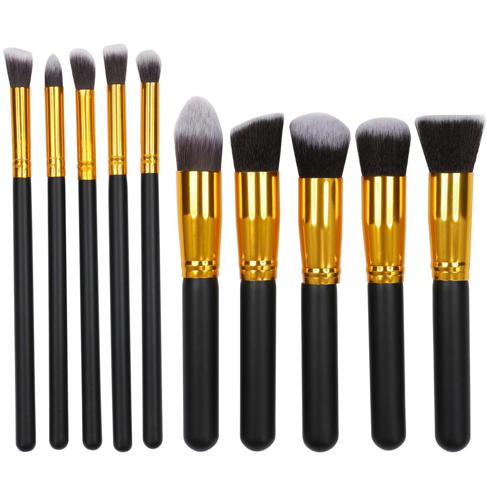 Yaheetech Makeup Brush Set Professional Foundation Blending Blush Eyeliner Face Powder Makeup Brush Kit(10Pcs,Black)
