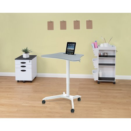 Calico Designs Cascade Adjustable Height Cart, White/Silver ()