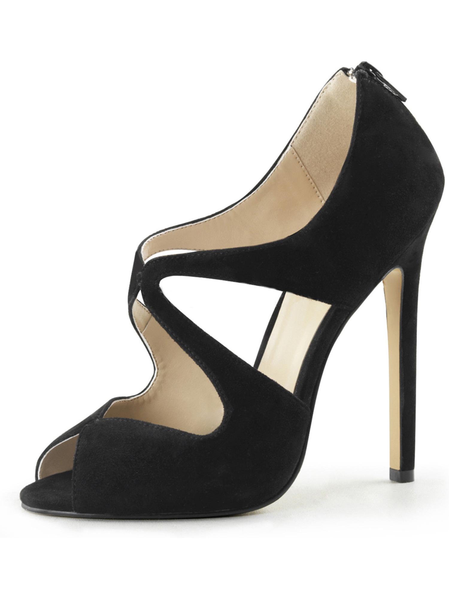 Womens Black Suede Shoes Peep Toe Pumps Back Zip Sandals Cut Outs 5 Inch Heels