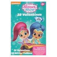 32ct Shimmer and Shine Valentine Cards with Glitter Tattoos