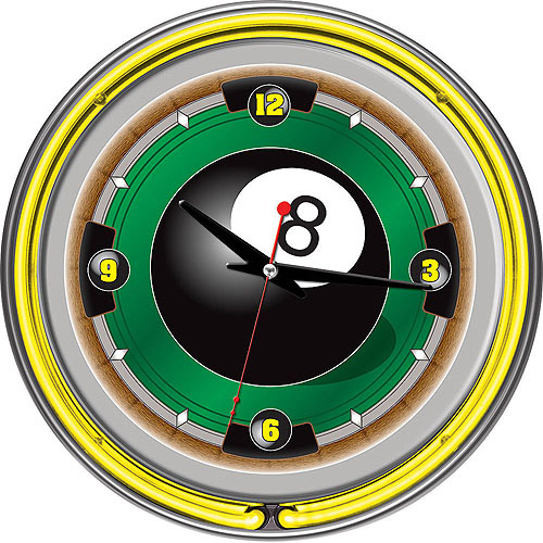 "Rack'em 8-Ball 14"" Neon Wall Clock"