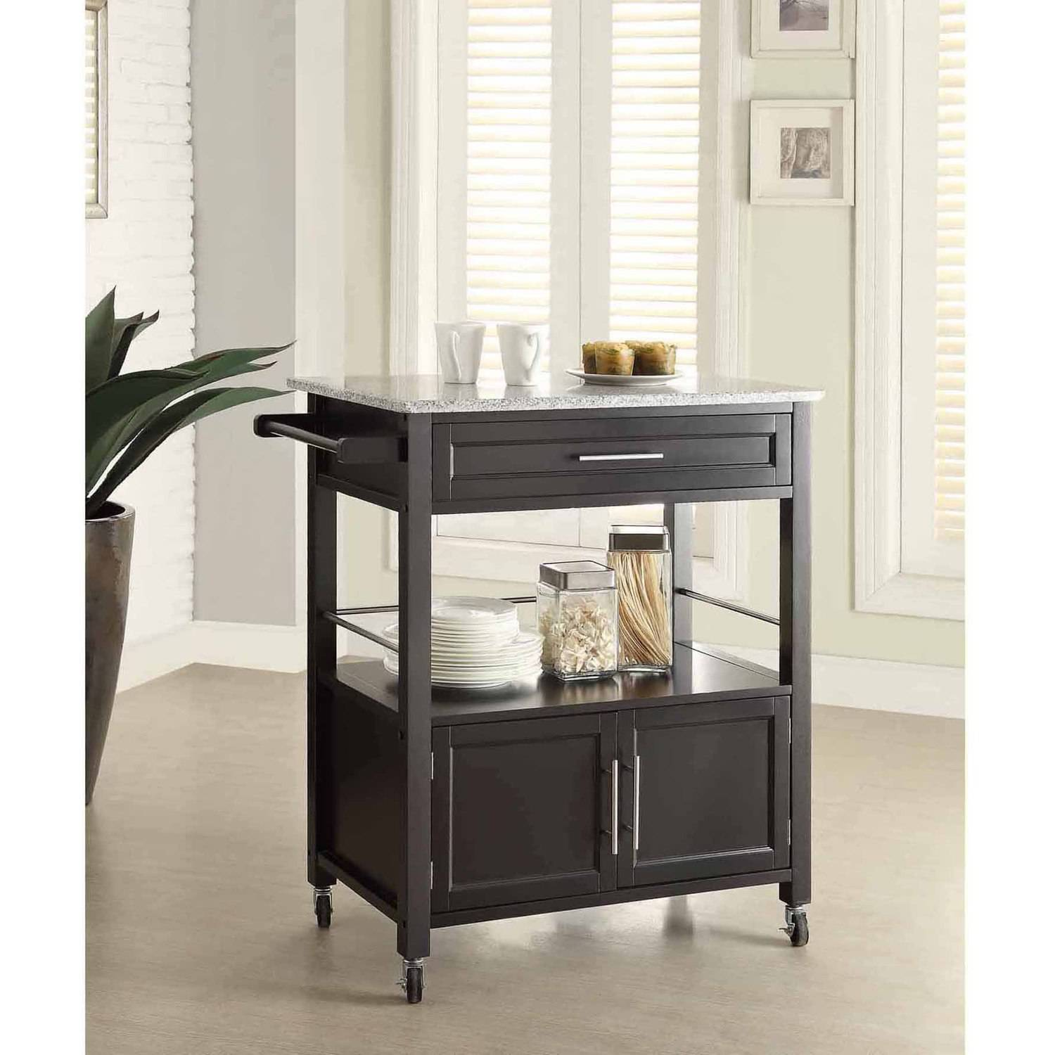 kitchen island microwave cart linon cameron kitchen cart with granite top black finish 5114