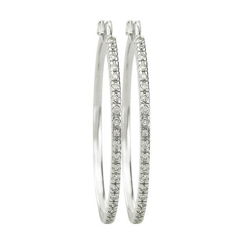 14K White Gold 0.34ct Your My Valentine Single Row Prong Diamond Hoop Earrings