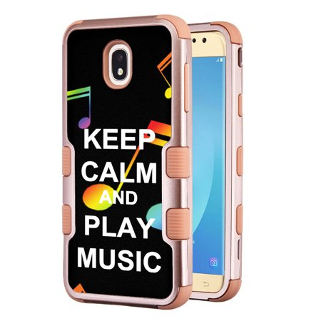 3-Layer Case for Samsung Galaxy J7 Crown / J7 aura / J7 Star / J7 Refine / J7 (2018), OneToughShield ® Hybrid Shockproof Protector Phone Case (Rose Gold Color) - Keep Calm