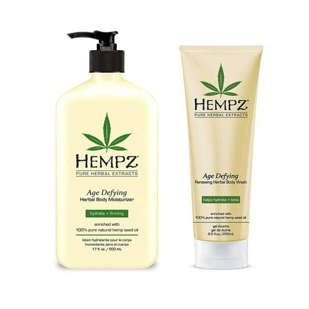 Hempz Age Defying Organic Hemp Herbal Body Moisturizer lotion+Body Wash