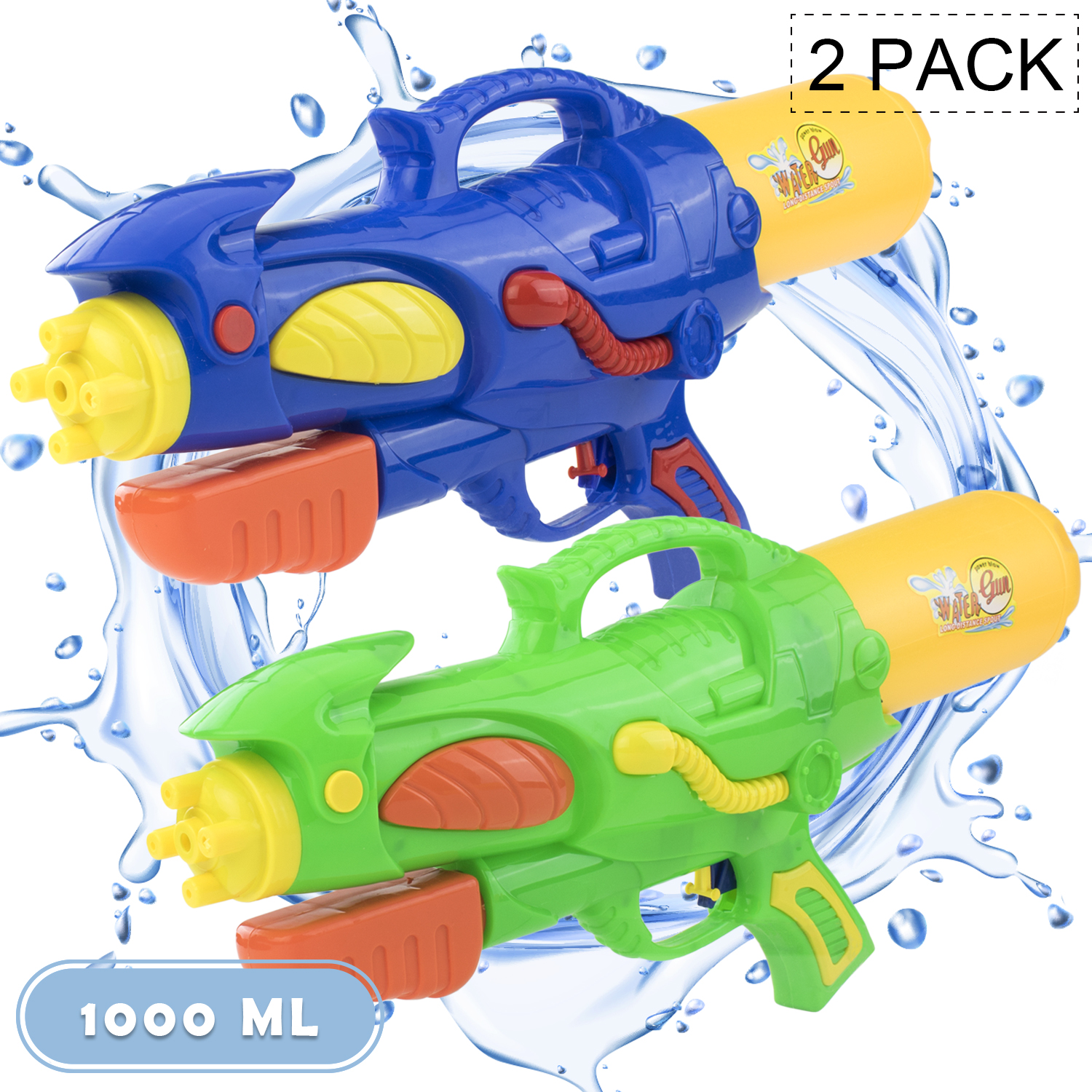 2Pack ,with 2000CC Large Capacity,for Summer Water Fighting Toy Outdoor Pool Beach Yard Adults Swimming Party Water Shooter Fighting Games Water Guns Water Blaster Squirt Guns Blaster Soaker for Kids