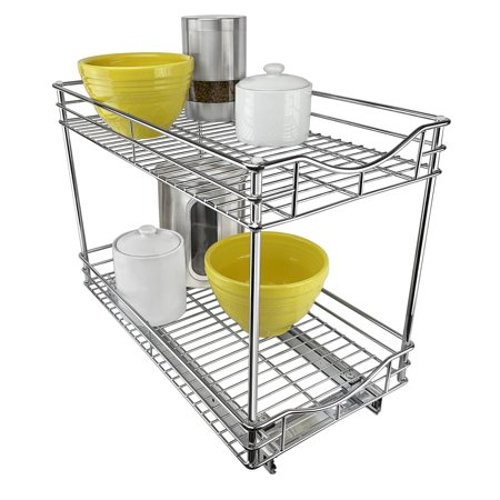 Lynk Professional® Slide Out Double Shelf - Pull Out Two Tier Sliding Under Cabinet Organizer - 11 inch wide x 18 inch deep - Chrome