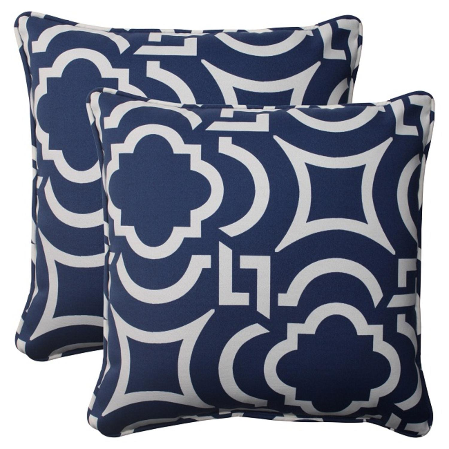 Set of 2 Geometric Navy Blue Sky Outdoor Patio Square Throw Pillows 18.5""