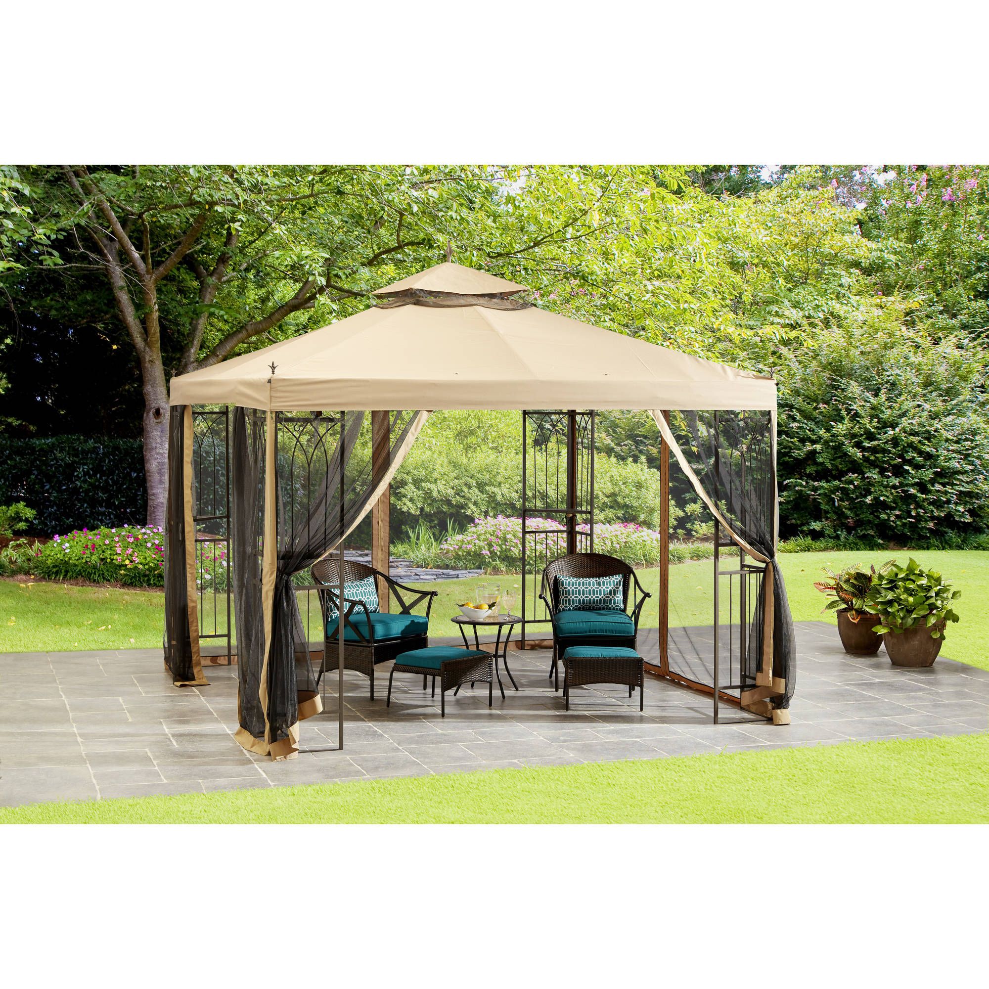 Mainstays 10' x 10' Steel Easy Assembly Gazebo with Netting
