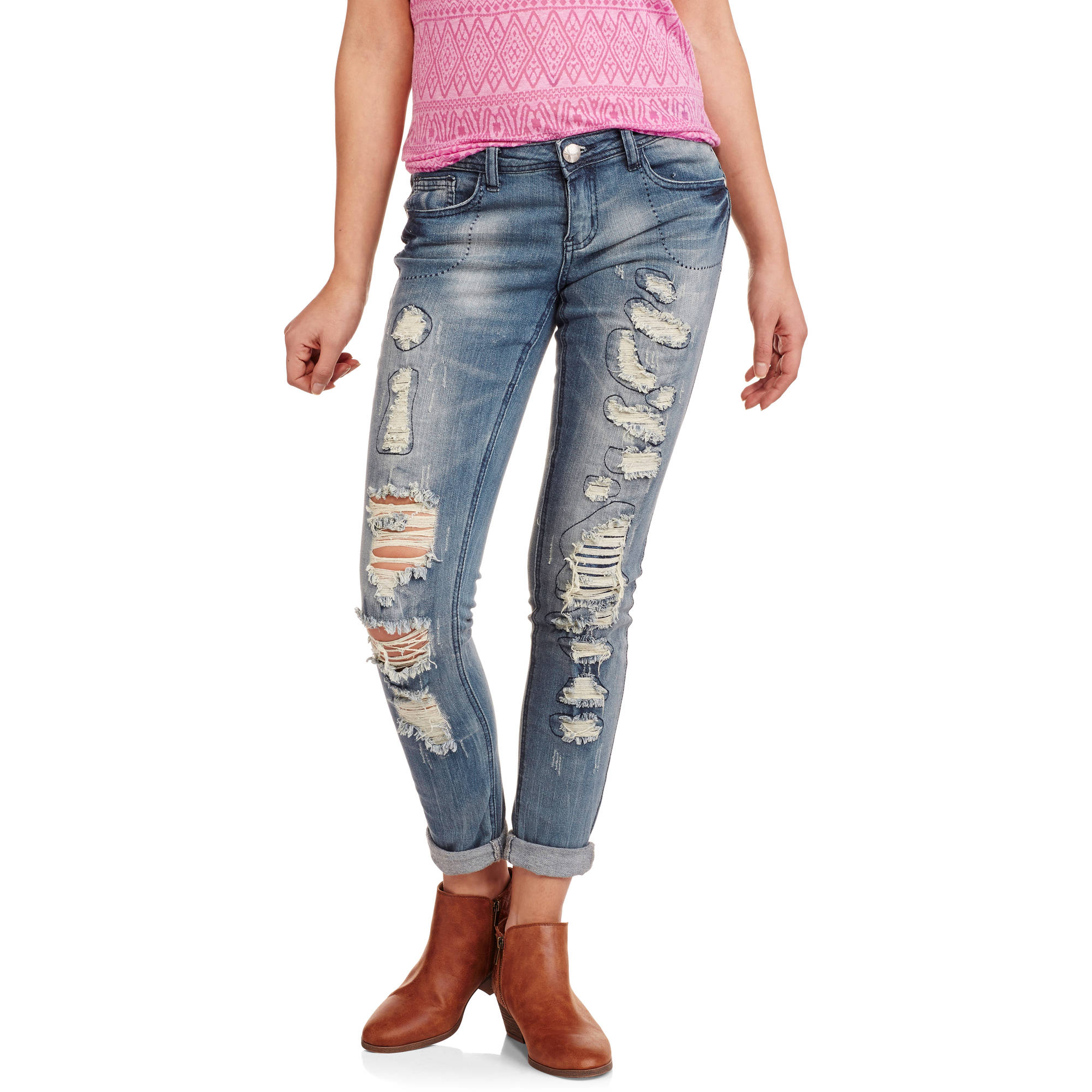 Almost Famous Juniors' Destructed Skinny Jeans