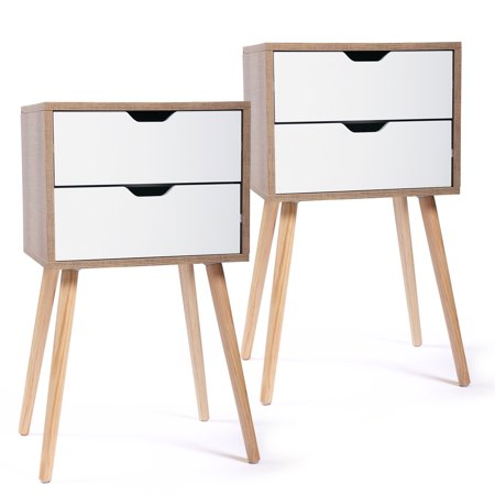 Jaxpety Set of 2 Nightstand Bedside Table Sofa End Table Bedroom Decor 2 Drawers Storage,White ()