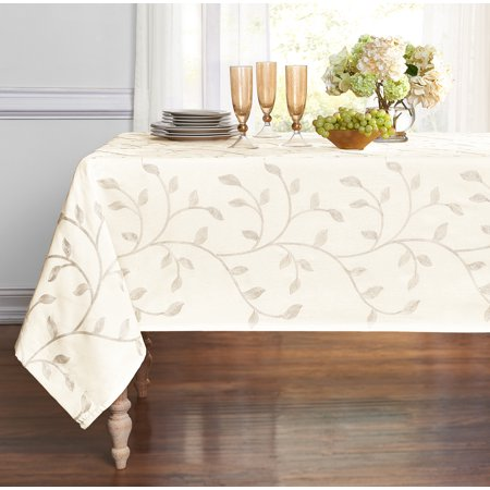 Regal Home Collections Madison Floral Embroidery Fabric Tablecloth - Beige, 54 in. x 84 - Fabric Tablecloths