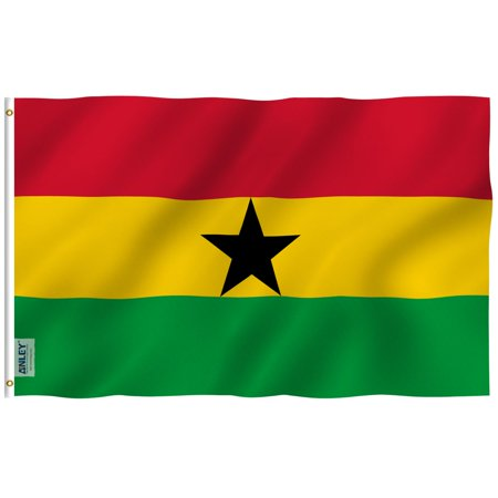 ANLEY Fly Breeze 3x5 Foot Ghana Flag - Vivid Color and UV Fade Resistant - Canvas Header and Double Stitched - Ghanaian National Flags Polyester with Brass Grommets 3 X 5 Ft - Ghana Flag Colors
