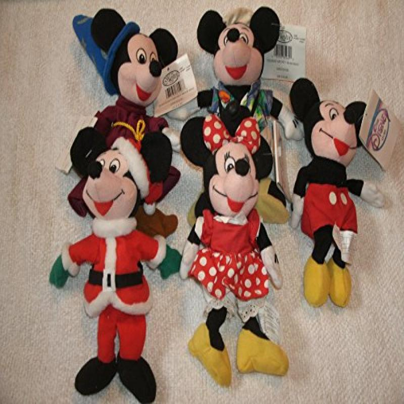 "Collection of Five Disney Beanbag 10"" Mickey and Minnie Mouse Dolls: Wizard, Tourist, Santa and More by"