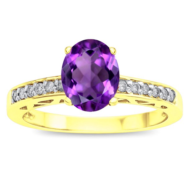 Star K Oval 8x6 Genuine Amethyst Channel Set Engagement Promise Ring