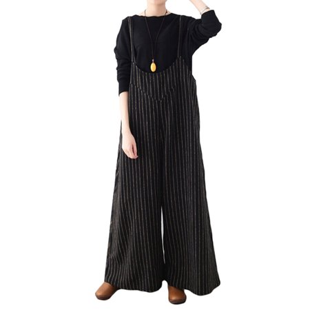 944b53fbedf4 Celmia - Women s Jumpsuits Striped Loose Wide Leg Pants Long Rompers -  Walmart.com