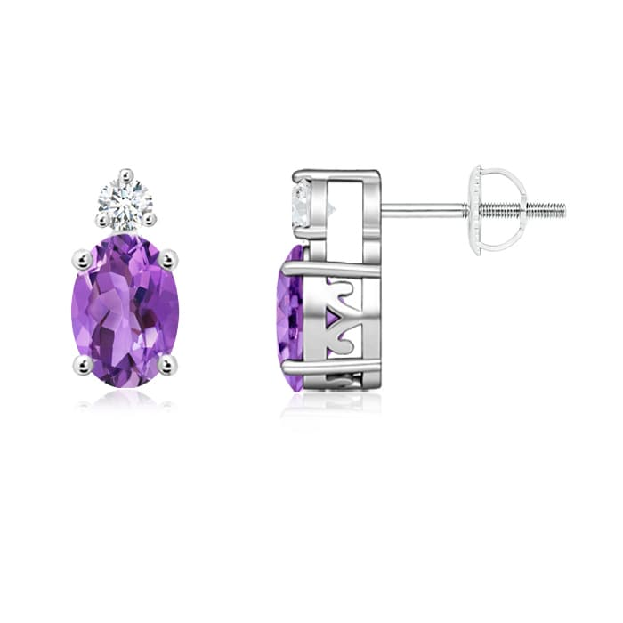 Angara Oval Amethyst and Diamond Stud Earrings in Rose Gold 3G4BZVS4D