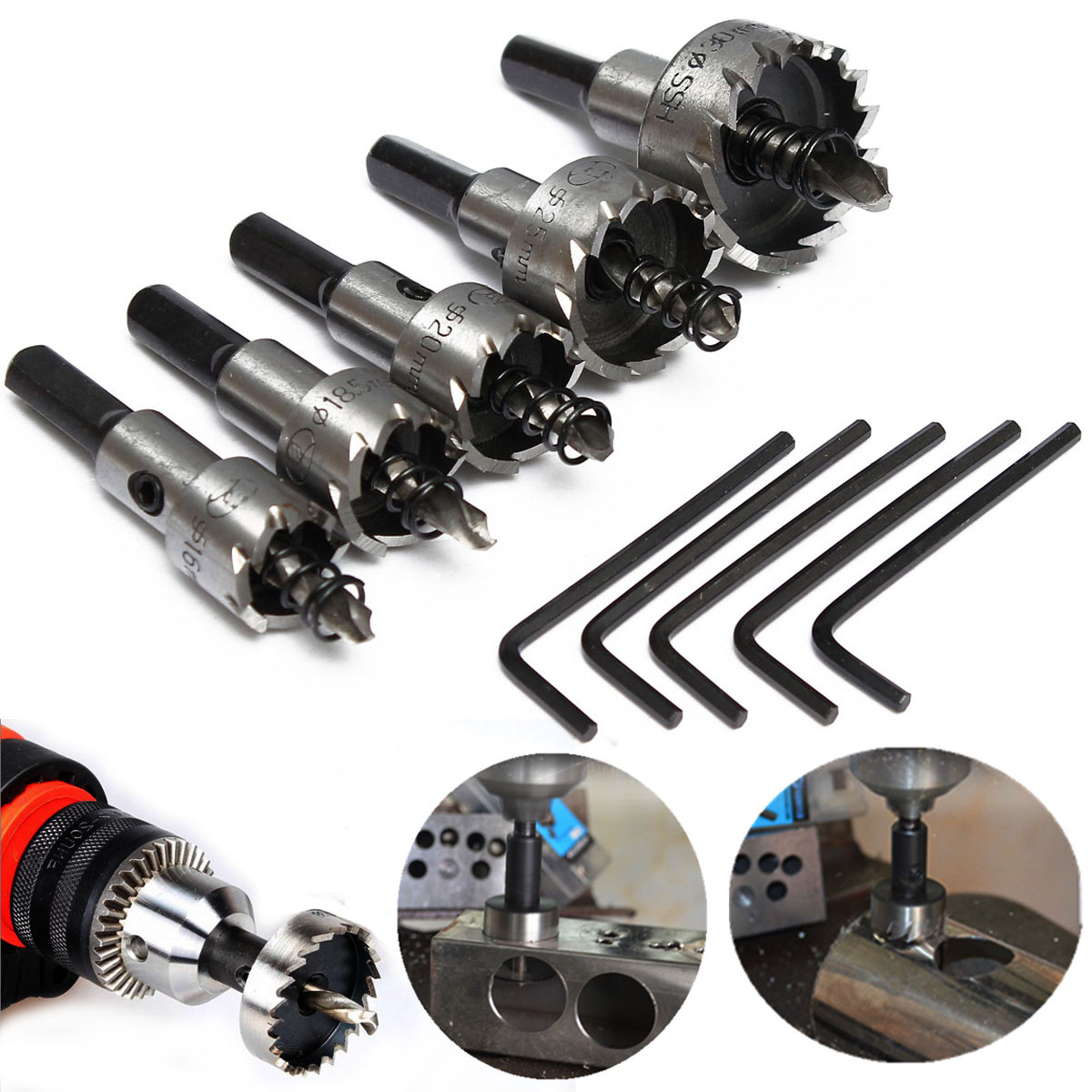 5PCs HSS Drill Bit Hole Saw Set 16-30mm Stainless Steel Titanium Coated  Metal Alloy Wood Hole Cutter + 5 Wrenches