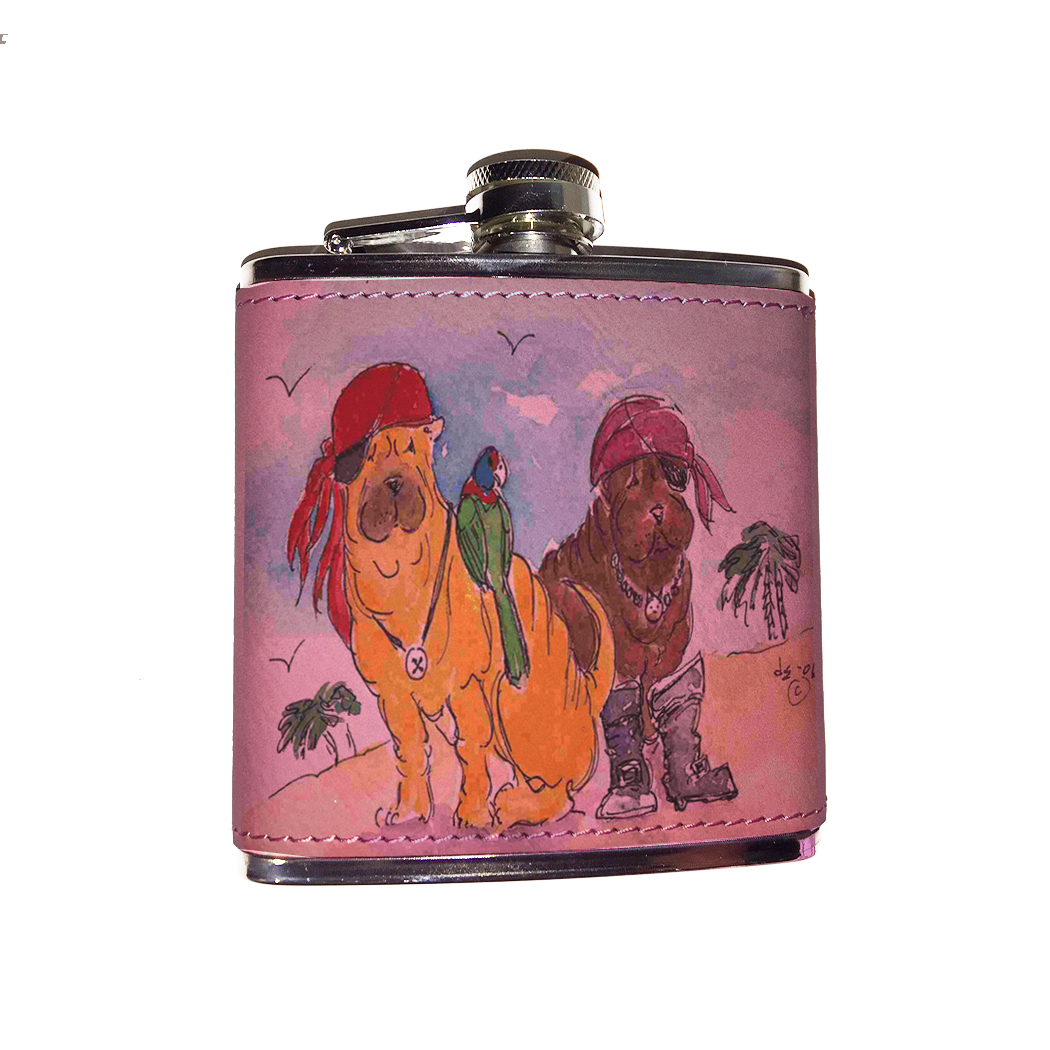 KuzmarK Pink Leather Flask - Chinese Shar Pei Pirate Dogs with Parrot Dog Art by Denise Every