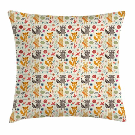 Raccoon Cartoon Animal - Cartoon Animal Throw Pillow Cushion Cover, Cute Pattern with Raccoon Rabbit and Fox Colorful Fantasy Nature Forest Life, Decorative Square Accent Pillow Case, 16 X 16 Inches, Multicolor, by Ambesonne