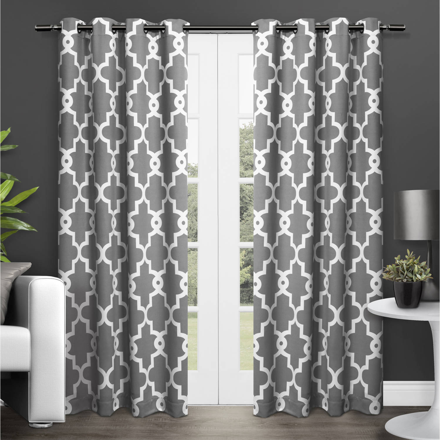 Exclusive Home Curtains 2 Pack Ironwork Sateen Woven Blackout Grommet Top Curtain Panels