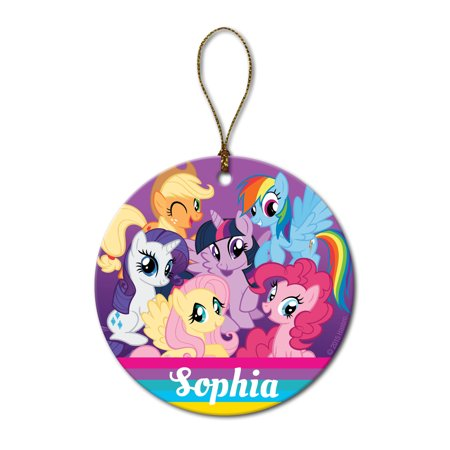Personalized My Little Pony Christmas Ornament - Friendship is Magic Round Ornament, (Pony Floral Ball)