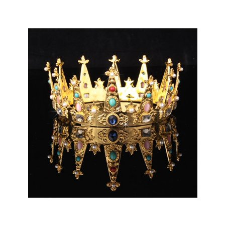 Baroque Gold Plated Bridal Crystal Rhinestone Queen Crown Tiara Wedding Pageant