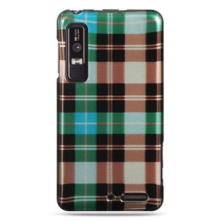 Checker Skin Cover Case (Insten Checker Design Hard Crystal Skin Back Cover Case For Motorola Droid 3 - Green)