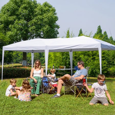 Erommy 10 x 20 ft Outdoor Pop Up Canopy Tent Portable Foliding Pavilion Gazebo with Carry Bag,White