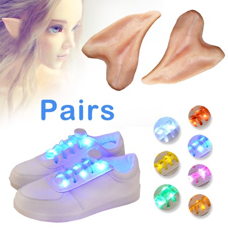 Halloween Cosplay Spirit Ear Props + [7 Pairs] Flashing LED Shoelaces,IClover  Masquerade Fancy Dress Costume Ear Tips with Safety Running Strap Shoe Laces for Hallowmas Party Dancing Running Cycling for $<!---->
